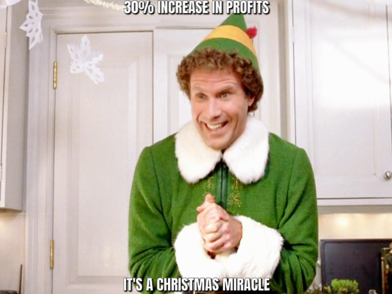 Buddy the Elf Meme: 30% Increase in Profits; It's a Christmas miracle!